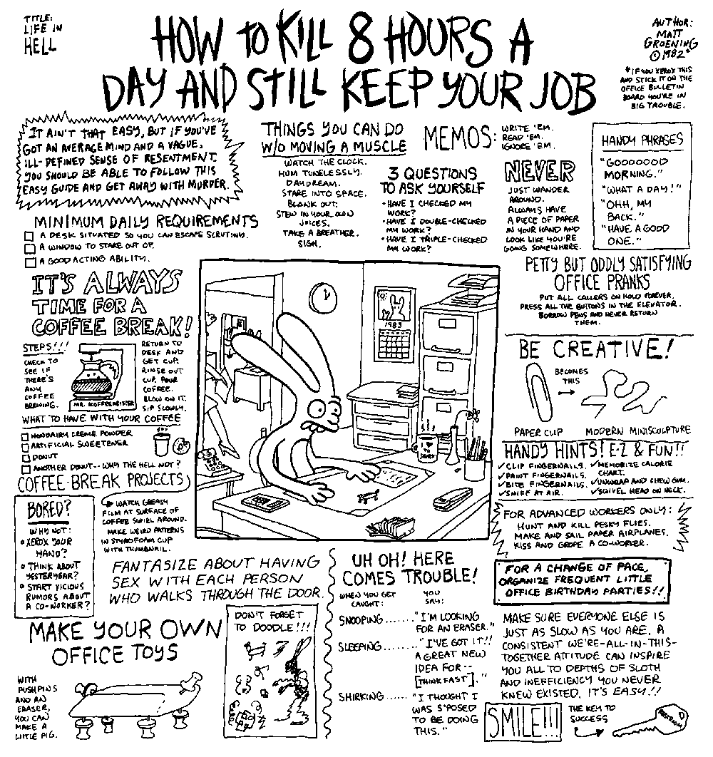 study guide to capital chapter  two went as follows image from matt groening cartoon called how to kill 8 hours a day and still keep